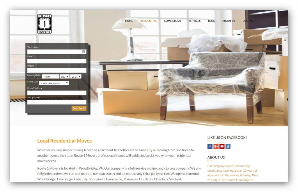 good web design for moving company